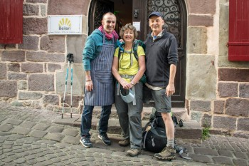 Joxelu (Beilari manager), Chris, and Steve--ready to leave St. Jean on Day 1