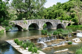Another view of the medieval bridge over the river Ulzama