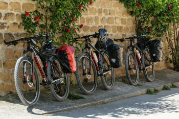 Bikes at bar in Zariquiegui