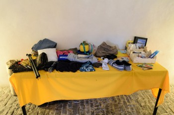 Give-away table for items pilgrims no longer want to carry