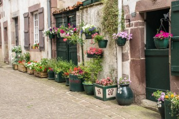 Flower baskets, St. Jean