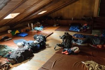 Attic sleeping area, parish hostel, Granon