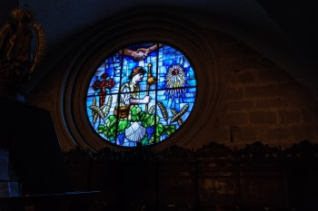 Stained glass window, Church of St. John the Baptist, Granon