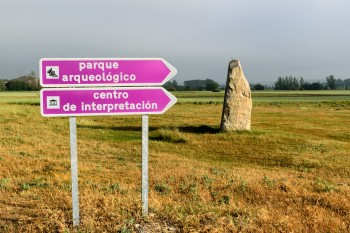 Signs to the prehistoric caves of Atapuerca