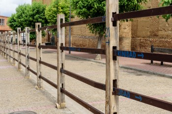 Fences assembled for the running of the bulls in Saharan