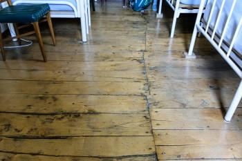 Amazing old albergue floorboards