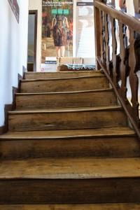 Well-worn albergue stairs, Municipal Albergue, Mansilla de las Mulas