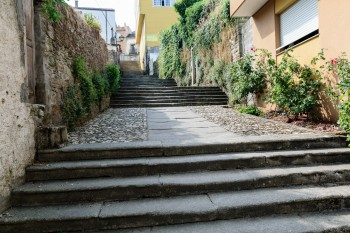 The Pilgrim Steps (Escalinata Maior) of Sarria.  These well-worn granite steps have been climbed by millions of pilgrims over the centuries.