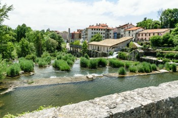 View of Pamplona from the bridge over the river Ulzama