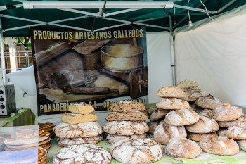 Local bread at a market in the plaza in Estella
