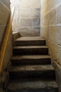 Stairs to parish hostel, Granon