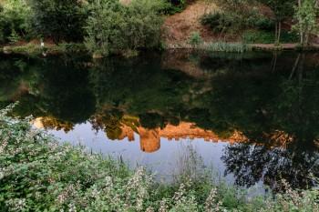 Castillo de los Templarios, Ponderrada, reflected in the rio Sil