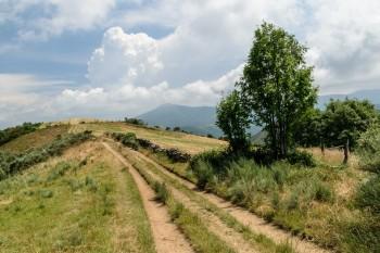Looking back, the climb to O'Cebreiro