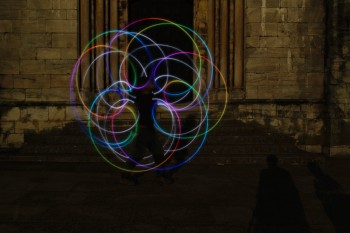 Hywel night juggling with colored lights