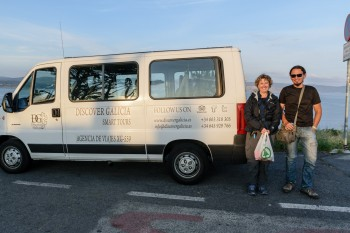 Chris and our tour guide, Martin (Spain), for our trip to Pontemaceira, Muxia, and Finisterre