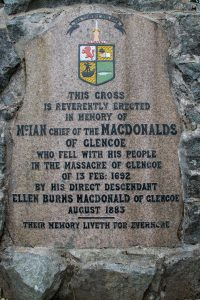 Inscription on base of the Glencoe Massacre Cross