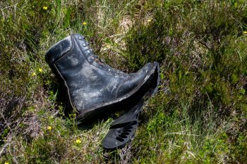 Discarded boot along The Devil's Staircase