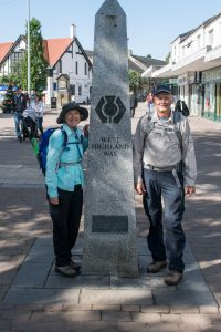 Trail marker in Milngavie at the start of The West Highland Way