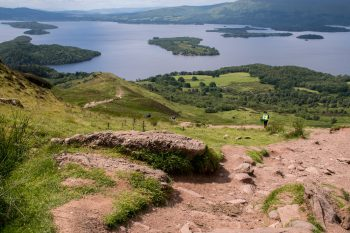 Conic Hill descent with view of Loch Lomond