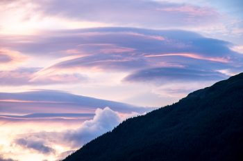 Sunset, hills surrounding Loch Lomond