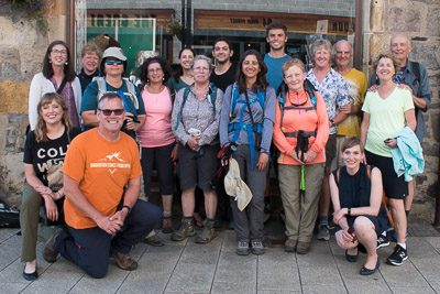 End-of-the-trail photo of hikers we walked with along The West Highland Way