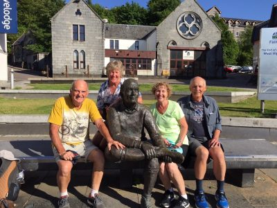 Neil and Kerry (Australia), with us at the statue at the end of the West Highland Way